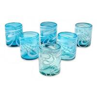 Handmade Blown Glass Rock Glasses, 'Whirling Aquamarine' (Set of 6) (Mexico)
