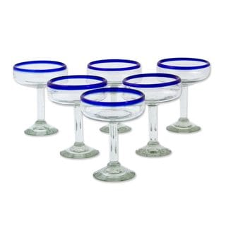 Margarita Glasses, 'Blue Cheer' (Set of 6) (Mexico)