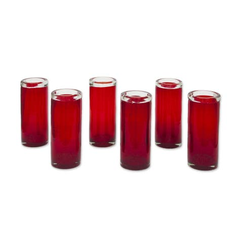 Handmade Blown Drinking Glasses, Set of 6 (Mexico)