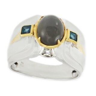 Michael Valitutti Palladium Silver Grey Moonstone, London Blue Topaz & White Sapphire Men's Ring