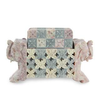 Soapstone Coaster Set, 'Elephant Patchwork' (Set For 6) (India)