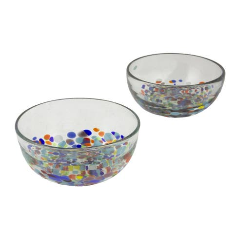 Blown Glass Bowls Confetti Festival Pair (Mexico)