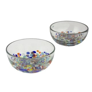 Blown Glass Bowls, 'Confetti Festival' (Pair) (Mexico)