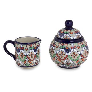 Ceramic Sugar Bowl and Creamer, 'Guanajuato Festivals' (Mexico)