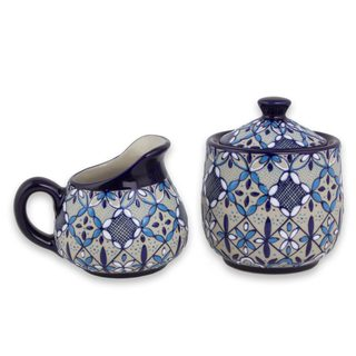 Ceramic Sugar Bowl and Creamer, 'Blue Bajio' (Mexico)