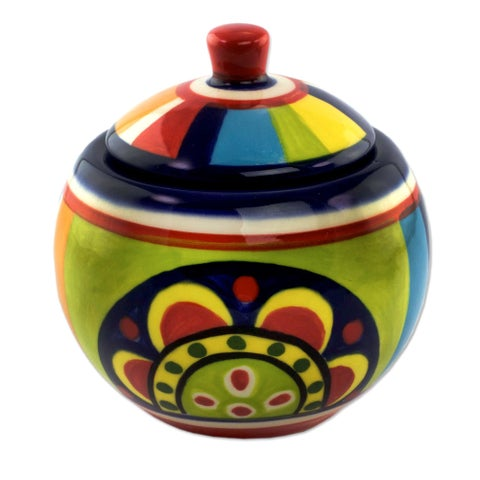 Ceramic Sugar Bowl, 'Kitchen Sunflower' (El Salvador)