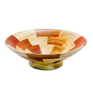 Mahogany and Teakwood Fruit Bowl, 'Tikal Stairway' (Guatemala)