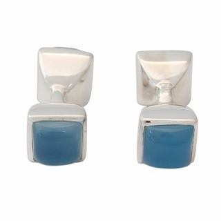 Chalcedony Cufflinks, 'Sky Squared' (India)