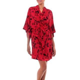 Women's Screen Print Robe, 'Red Empress' (Indonesia)