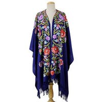 Handmade Wool Cape, 'Persian Sea' (India)