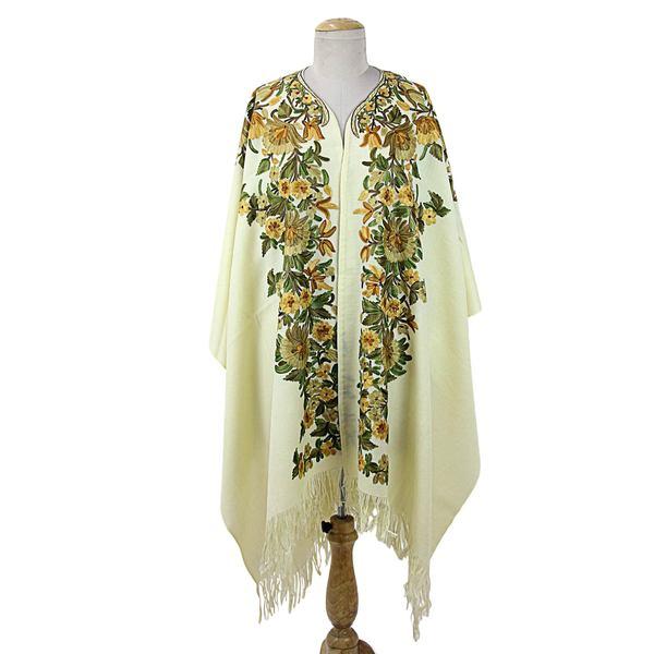 Handmade Embroidered Wool Cape, 'Ravishing Alabaster' (India)