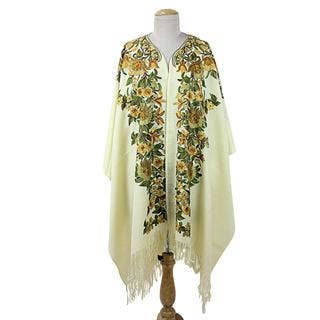 Embroidered Wool Cape, 'Ravishing Alabaster' (India)|https://ak1.ostkcdn.com/images/products/16198676/P22570384.jpg?impolicy=medium