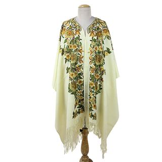 Embroidered Wool Cape, 'Ravishing Alabaster' (India)