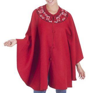 Alpaca Blend Ruana Cloak, 'Elegant Red' (Peru)
