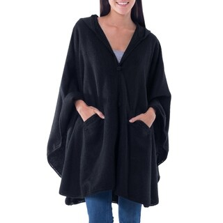 Handmade Alpaca Blend Hooded Ruana Cape, 'Glamorous Night' (Peru)