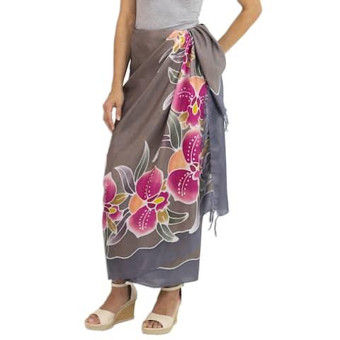 Handmade Silk Batik Sarong, 'Paradisiacal Cattleya' (Thailand)