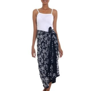 Rayon Batik Sarong, 'Tropical Garden In Black' (Indonesia)