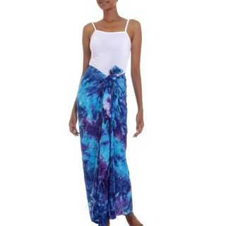 Handmade Rayon Tie-Dyed Sarong, 'Sea Glass' (Indonesia)