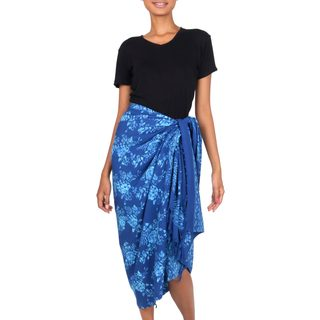 Rayon Batik Sarong, 'Blue Rose' (Indonesia)