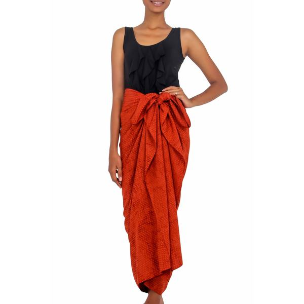 a1c1ab67c3f21 Shop Handmade Cotton Blend Sarong, 'Orange Coffee Bean' (Indonesia ...