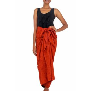 Cotton Blend Sarong, 'Orange Coffee Bean' (Indonesia)