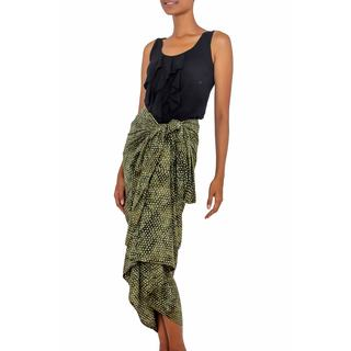 Handmade Cotton Blend Sarong, 'Green Coffee Bean' (Indonesia)