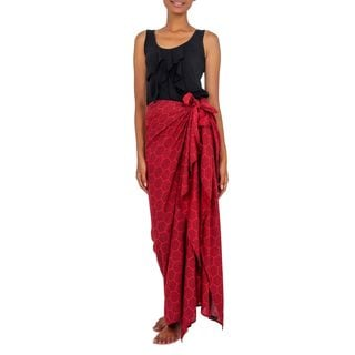 Cotton Blend Sarong, 'Scarlet Honeycomb' (Indonesia)