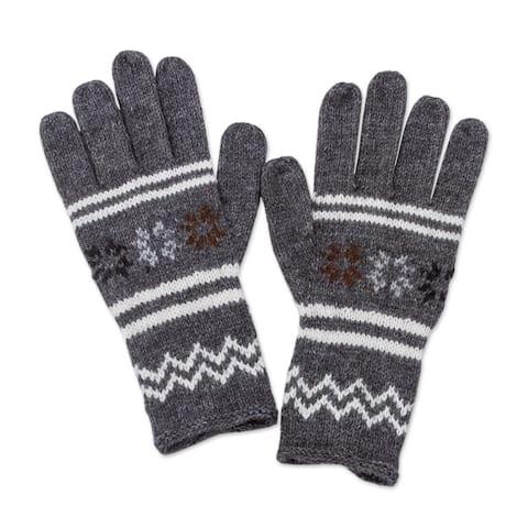 Handmade Alpaca Blend Gloves, 'Slate Stars' (Peru)