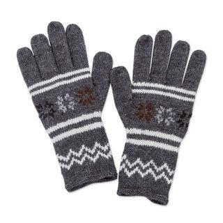 Alpaca Blend Gloves, 'Slate Stars' (Peru)