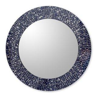 Glass Mosaic Wall Mirror, 'Round Navy Cosmos' (India)