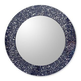 Handmade Glass Mosaic Wall Mirror, 'Round Navy Cosmos' (India)