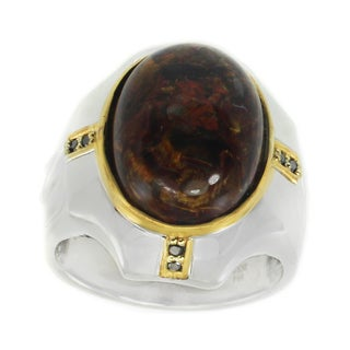 Michael Valitutti Palladium Silver Pietersite & Black Diamond Men's Ring