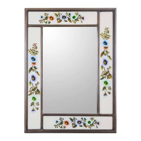 Handmade Mirror, 'Modern Daisy' (Peru)