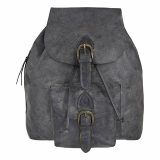 Men's Leather Backpack, 'Weathered Charcoal' (Mexico)