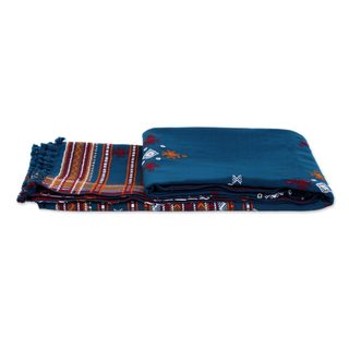 Woven Throw Blanket, 'Azure Mirror' (India)