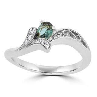 La Vita Vital 18K White Gold, Fine Brazilian Alexandrite 0.20cts & Diamond 0.02cts TDW (SI1-SI2 G-H) Ring - Green