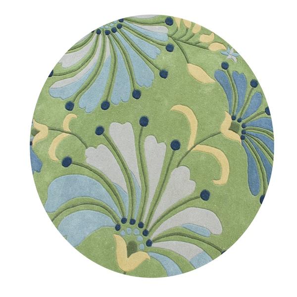 Eastern Colors Light Green New Zealand Blend Wool Handmade Round Rug (6'x6')
