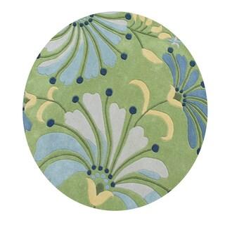 Eastern Colors Light Green New Zealand Blend Wool Handmade Round Rug - 6' x 6'