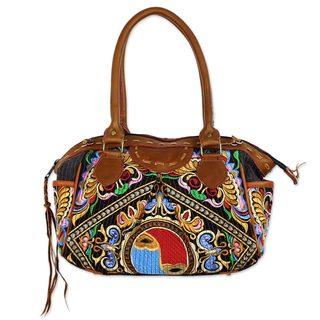 Leather Accent Baguette Handbag, 'Hill Tribe Butterflies' (Thailand)