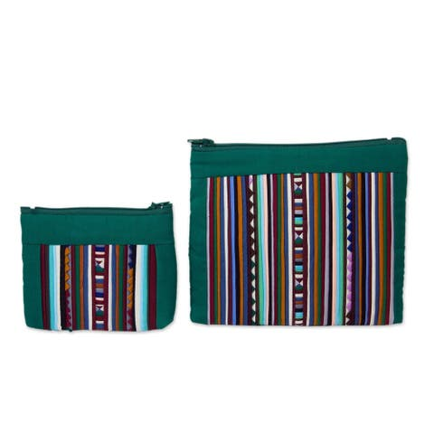 Handmade Exotic Lisu Green Cosmetic Bags, Set of 2 (Thailand)