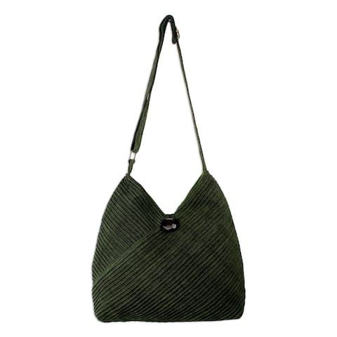 Handmade Cotton Hobo Bag With Coin Purse, 'Surreal Green' (Thailand)