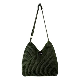 Cotton Hobo Bag With Coin Purse, 'Surreal Green' (Thailand)