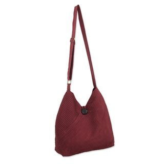 Cotton Hobo Bag With Coin Purse, 'Surreal Wine' (Thailand)