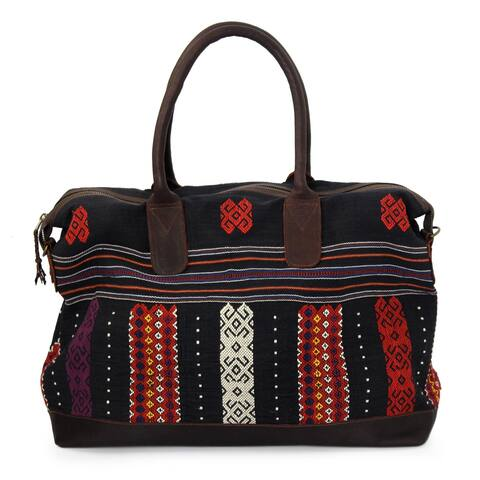 Leather Accent Cotton Handbag, 'Naga Midnight' (Thailand)