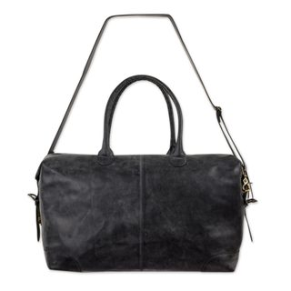 Leather Travel Bag, 'Charcoal Grey Traveler' (Mexico)