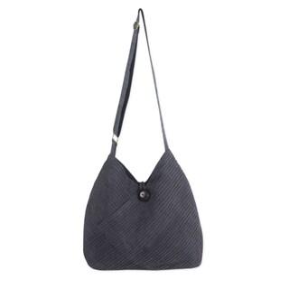 Cotton Hobo Bag With Coin Purse, 'Surreal Grey' (Thailand)