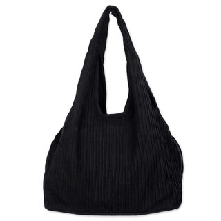 Cotton Shoulder Bag, 'Thai Texture In Black' (Thailand)