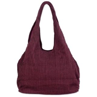 Cotton Shoulder Bag, 'Thai Texture In Wine' (Thailand)