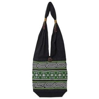 Cotton Shoulder Bag, 'Forest Colors' (Thailand)