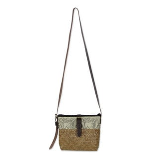 Natural Fibers With Leather Accent Shoulder Bag, 'Thai Elephant Parade' (Thailand)